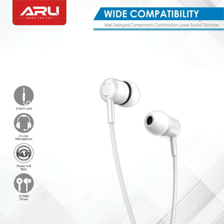ARU wired headphones with microphone